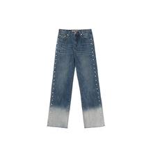 2019春季新款韩版浅色钉珠磨白水洗高腰直筒珍珠牛仔裤女