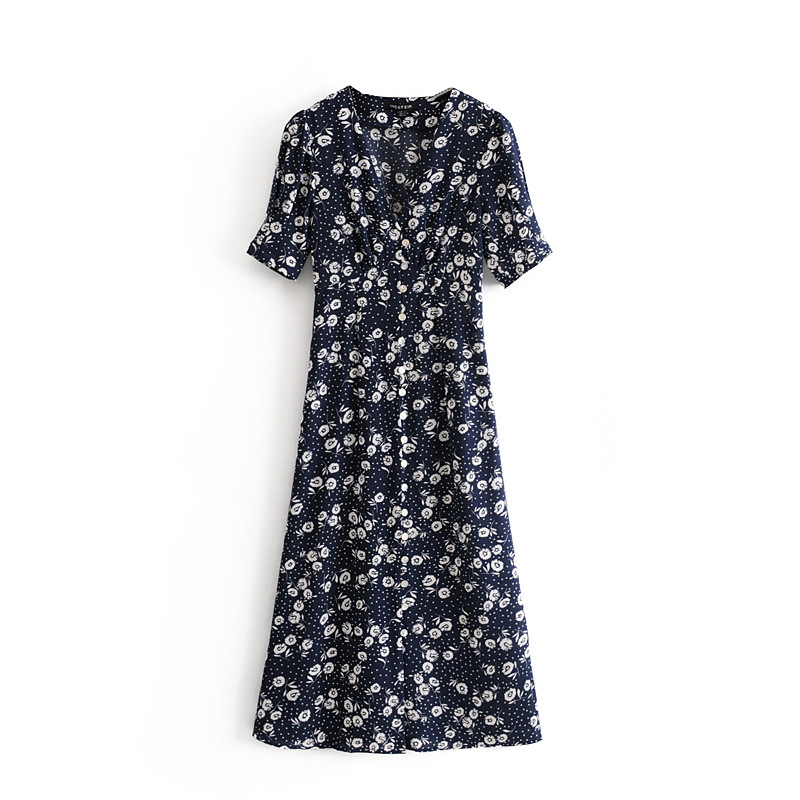 Vintage Tea Break Blue Chiffon Floral Dress NHAM155913