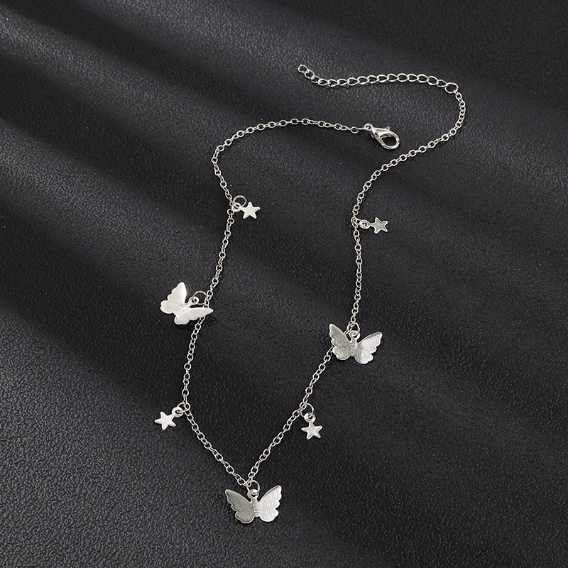 Simple fashion butterfly necklace personality popular five-pointed star clavicle chain women wholesales fashion NHNZ180832