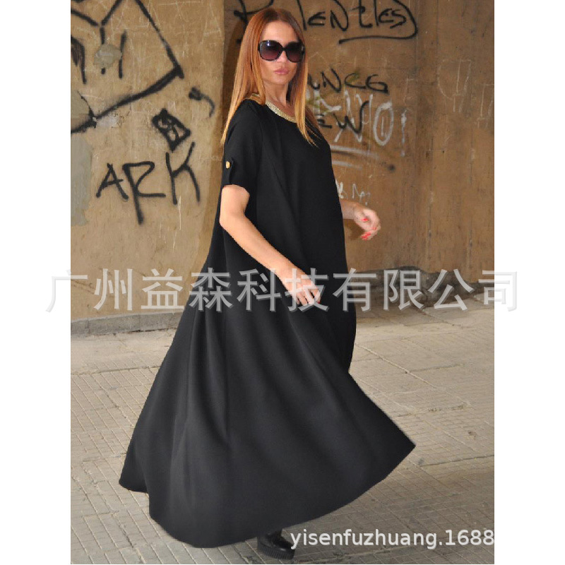 2019 new black casual loose plus size splicing round neck short sleeve irregular long dress