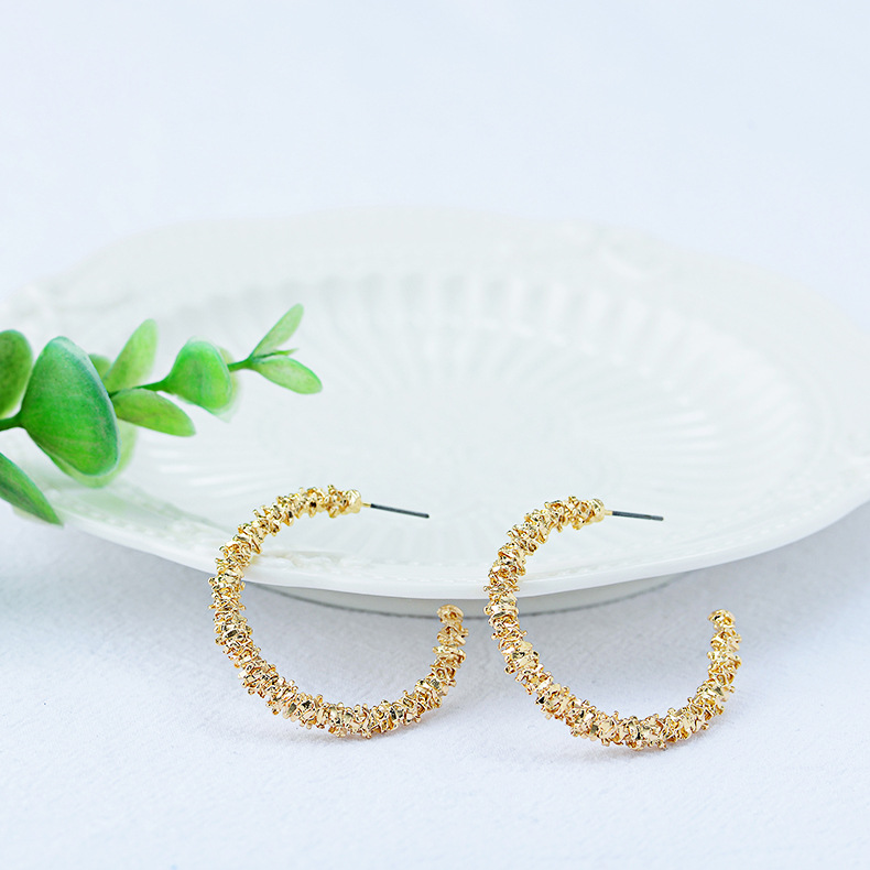 Korean new concave and convex C-shaped earrings simple creative bright gold earrings jewelry NHQS194697