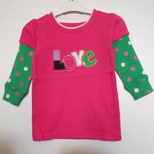 女童長袖T恤春秋季玫紅色+綠色波點袖子love字母兒童上衣外貿T恤