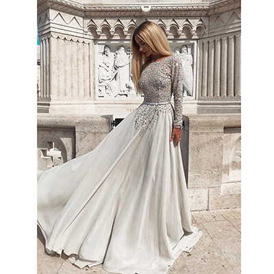 Autumn 2020 new European and American foreign trade women's fast sell through wish long sleeve sexy backless gilt dress new style