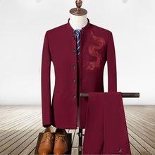 2018秋季新款男士中国风刺绣西服三件套时?#34892;?#30007;立领休闲套装外套