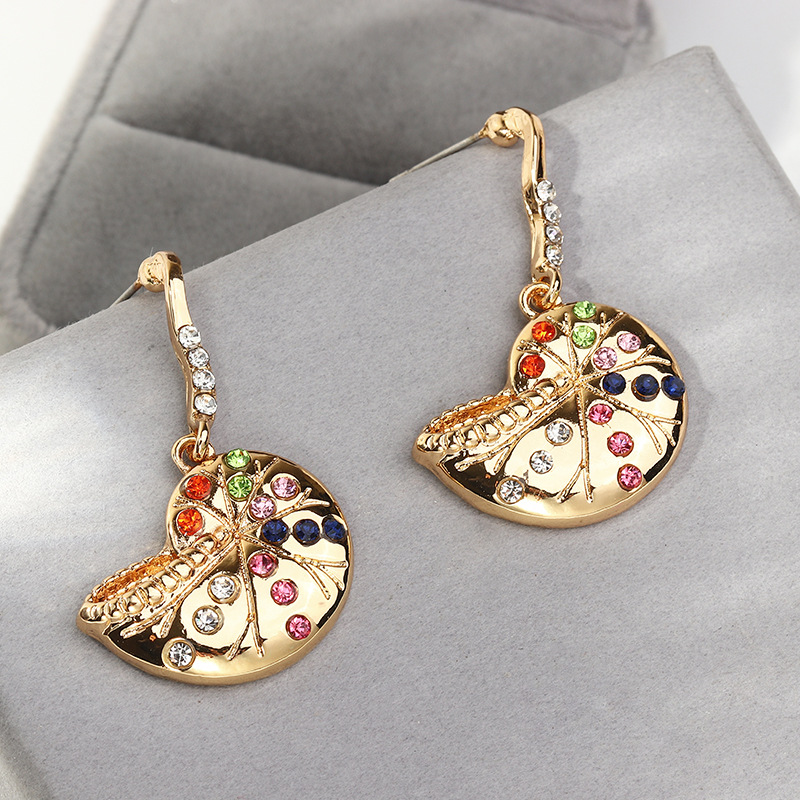 Creative snail earrings with colorful diamonds NHNZ189903