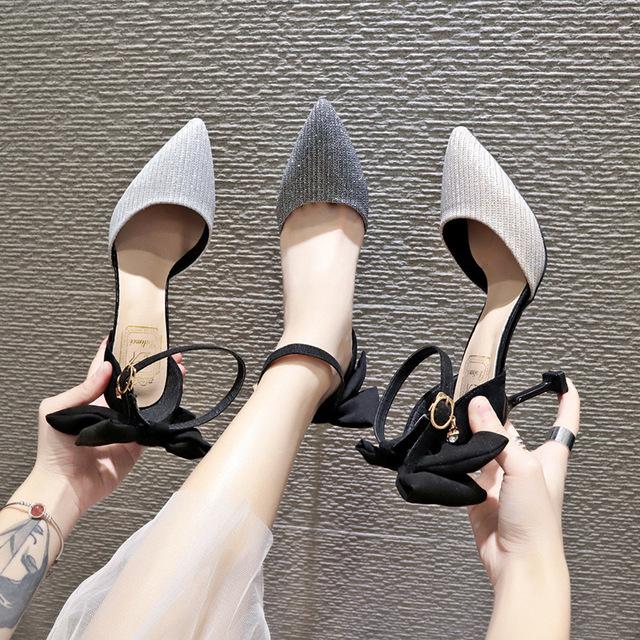 凉鞋女一字扣高跟鞋细跟尖头2019春季新款韩版百搭少女中空单鞋夏