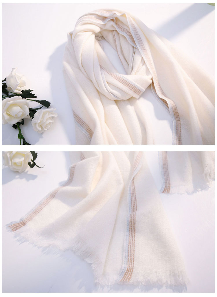 Color border scarf female autumn and winter long section thick couple students warm warm wild imitation wool scarf tassel NHMN180009