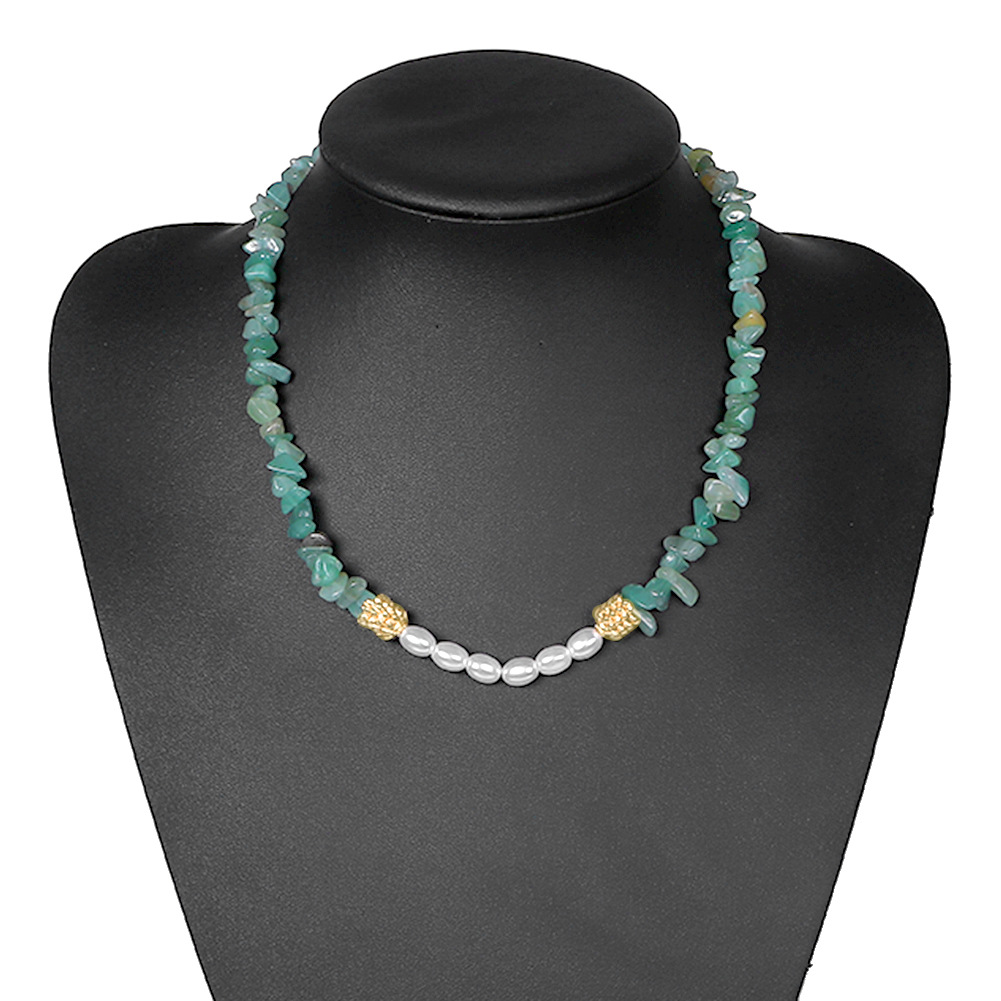 Ethnic style gravel turquoise with beads necklace NHJQ146654
