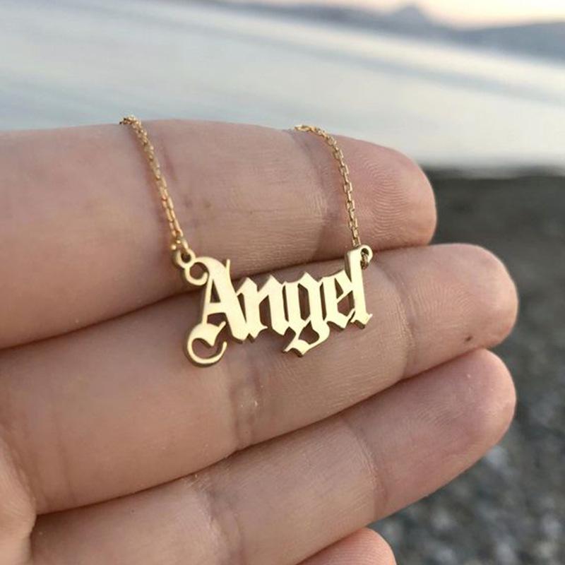 Moda simple viento letra Ángel collar personalidad popular ángel clavícula cadena NHNZ189889