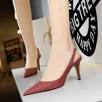 272-10 Euro-American style simple high heel, shallow mouth, pointed sexy, thin professional OL rear tripping strap hollow women's shoes single shoes