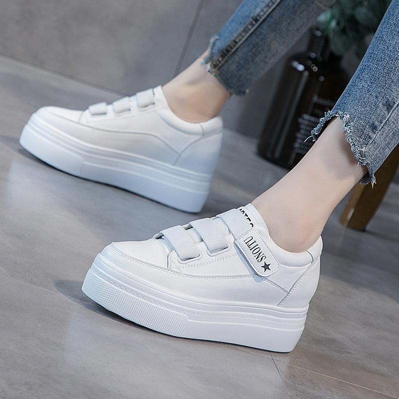 運動鞋女2020春季新款內增高小白鞋女真皮魔術貼韓版厚底休閑鞋女