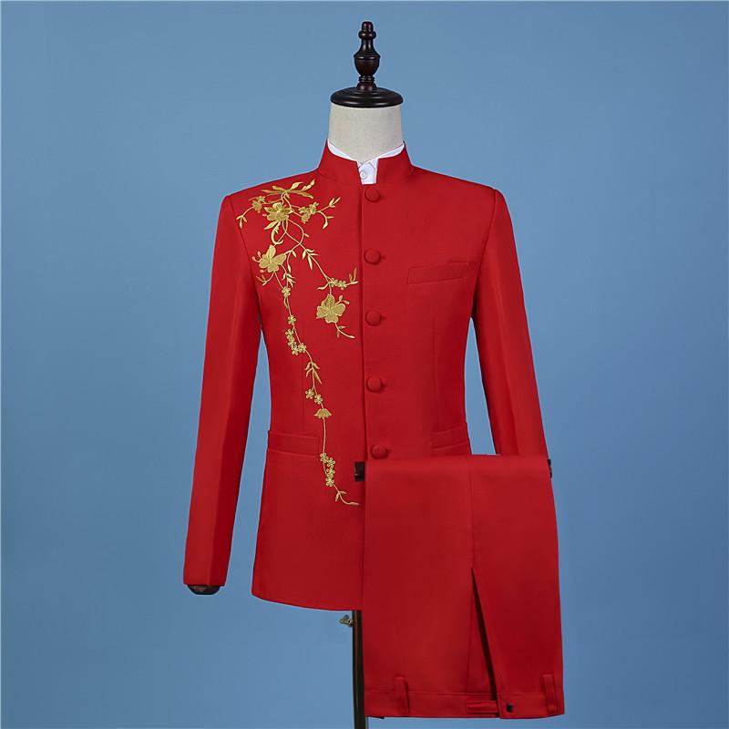男士绣花修身唐装中山装套装 主持人歌手司仪中式新?#23665;?#23130;礼服