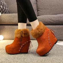 真兔毛内增高短靴女2019冬季新款欧美坡跟超高跟女式毛毛时尚短靴