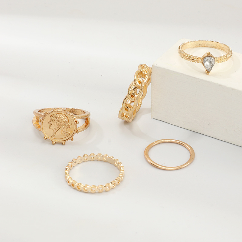 Creative fashion portrait ring alloy metal ring 5 piece set NHNZ151322