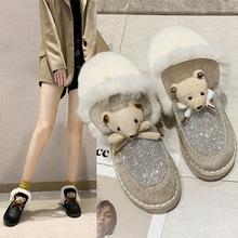 水鉆雪地靴女2019冬新款小熊時尚可愛棉靴加絨保暖短筒棉鞋女鞋子