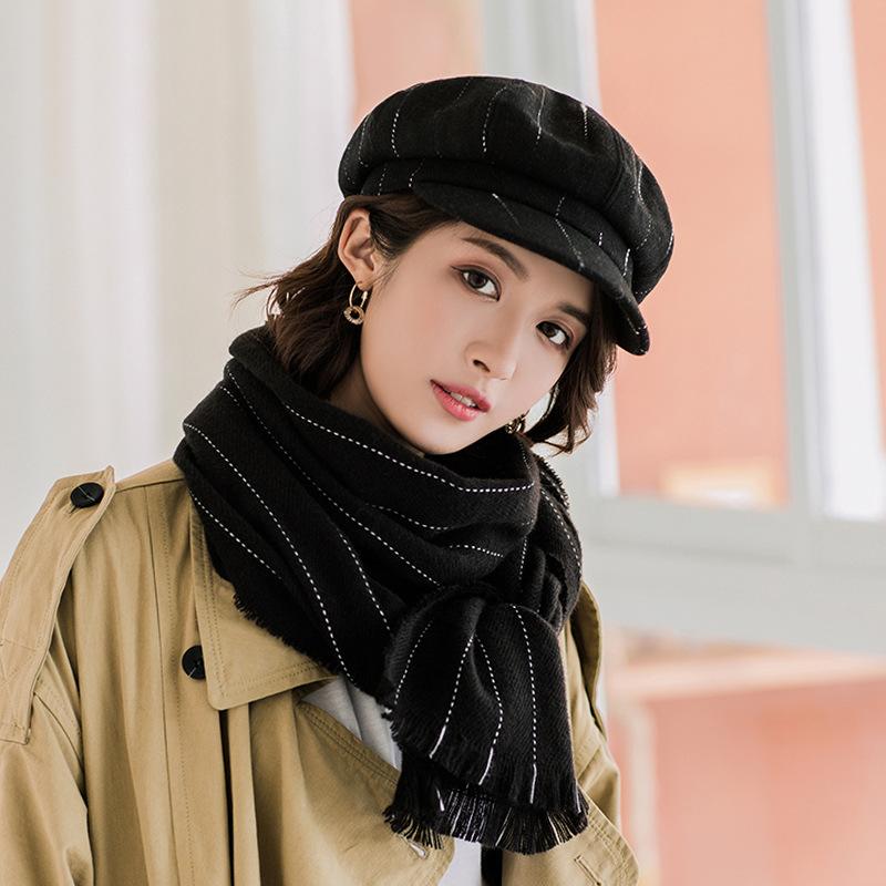 秋冬季贝雷帽子女时尚八角帽韩版南瓜贝雷帽长款百搭格子围巾套装