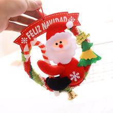 圣誕裝飾品掛件布藝花環藤圈圣誕老人麋鹿雪人門窗掛飾擺件掛飾