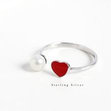 S925 sterling bạc thả men tình yêu nhẫn ngọc trai đơn giản tính khí nữ phần đào trái tim nhẫn cá tính ngọt ngào phụ kiện trang sức Nhẫn