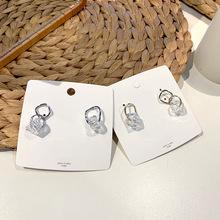 韓國東大門同款耳環女不對稱透明水晶冰塊耳墜冷淡風百搭耳釘耳飾