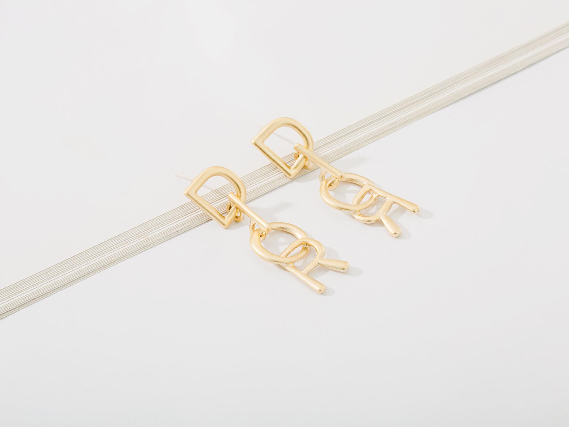 New fashion stitching alloy English alphabet earrings NHLL156952