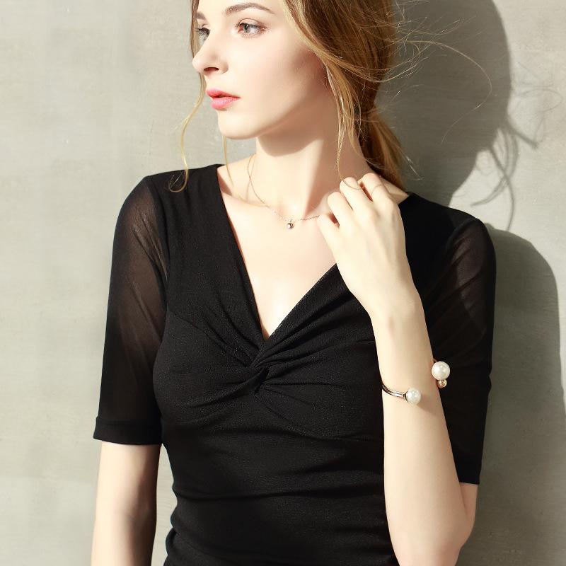 一件代发跨境欧美女装2019夏季新款t桖女V领网纱打?#21672;?#26102;尚上衣女