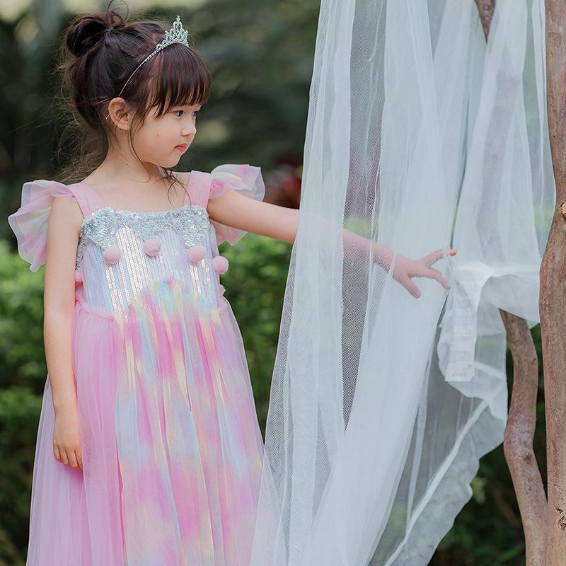 童装新款2019飞袖独角兽公主裙万圣节表演服装礼服裙女童连衣裙夏