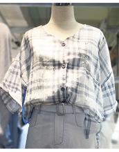 15320#大码韩范休闲套装格子衬衣短裤 清仓款不退不换