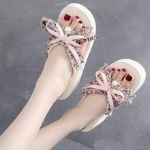 蔻艾缇小香风百搭蝴蝶结人字拖女夏韩版坡跟时尚拖鞋外穿夹脚凉拖