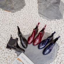 时尚女士休闲雨鞋女雨靴马丁雨鞋套脚水鞋短筒中筒短帮胶鞋U型