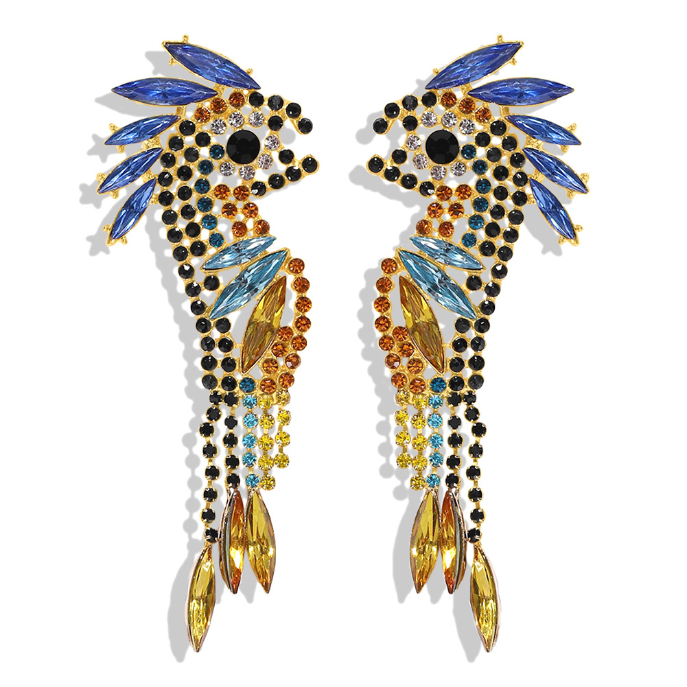 Alloy diamond tassel earrings fashion animal earrings marine earrings NHJQ196253
