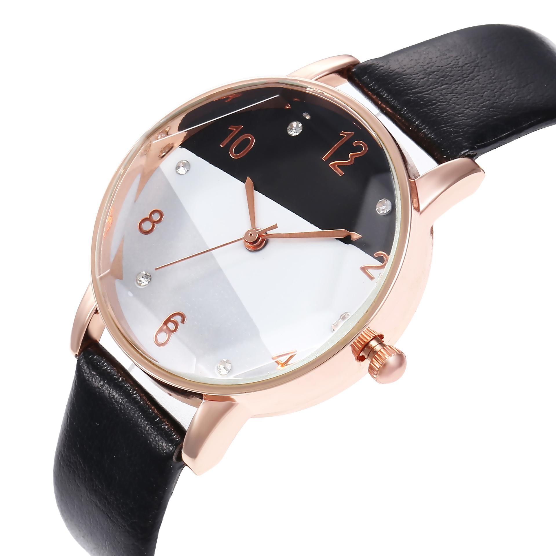New ladies tri-color dial prismatic glass watch quartz watch belt watch female models wholesales fashion NHHK178359