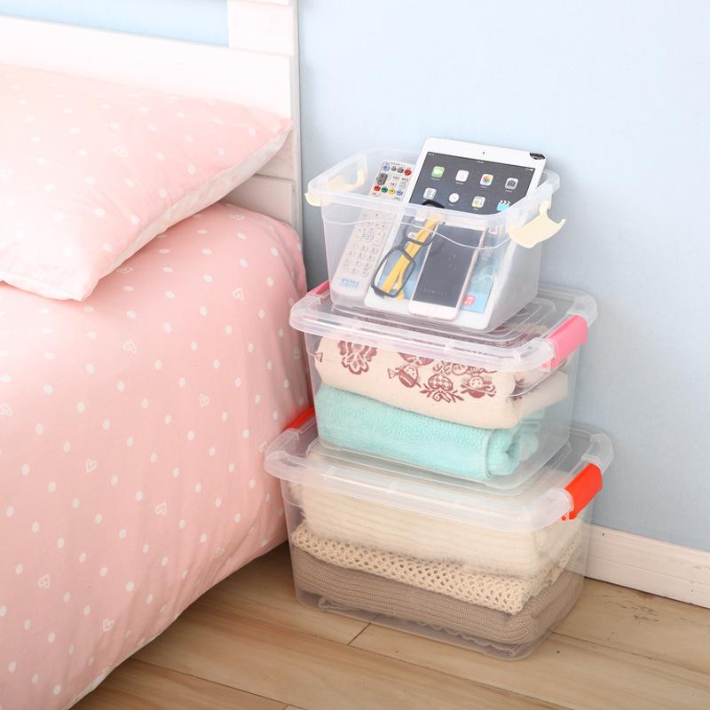 无箱箱子玩具储物箱衣柜加厚透明衣服整理特大号塑料卧室无盒