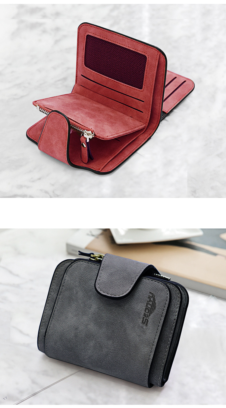 Korean canvas coin purse buckle matte leather purse short paragraph small wallet retro zipper wholesale nihaojewelry NHBN231154