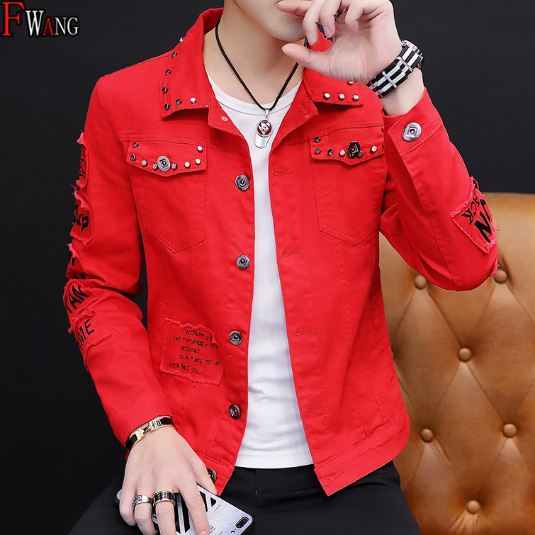 2019 Spring Cool Denim Jacket Male Korean-style Ripped Jeans Trend Social Guy Rivet Jacket Gown