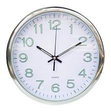 12英寸創意圓形電鍍銀色掛鐘 簡約臥室客廳石英鐘定制LOGO 廣告鐘