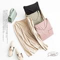 唐格新 针织真丝棉长袖打底衫 蚕丝保暖上衣 纯色V领T恤女宽松