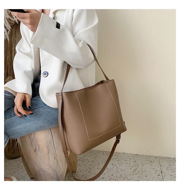 Fashion texture slung shoulder bucket bag NHLD158060