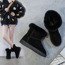 冬季新款雪地靴女2019加绒保暖真皮女短靴内增高橡胶底学生棉鞋女