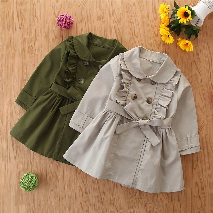 Samgamibaby girls' trench coat 2020 mid long autumn new double breasted British children's coat