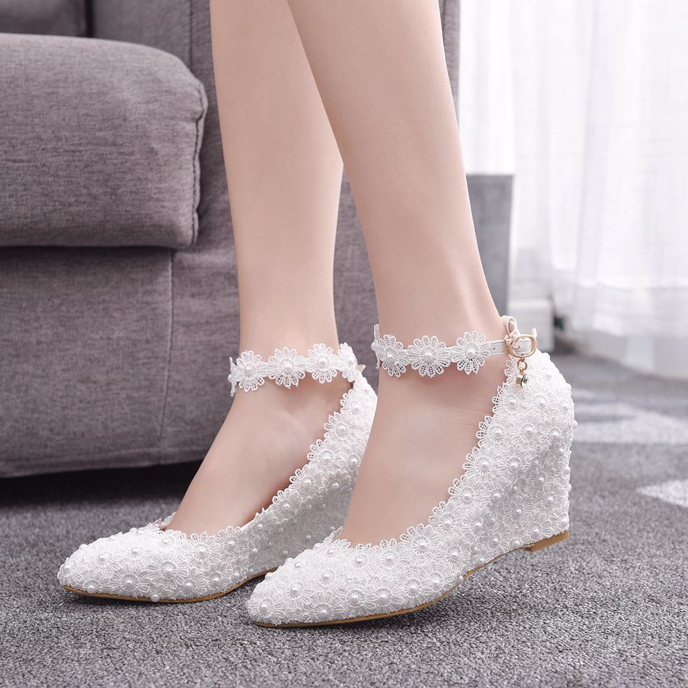Pearl Lace Fashion Sexy Pedicure Was Thin High Heel Women's Shoes Wedge With High-heeled Casual Shallow Mouth Buckle Pointed Shoes