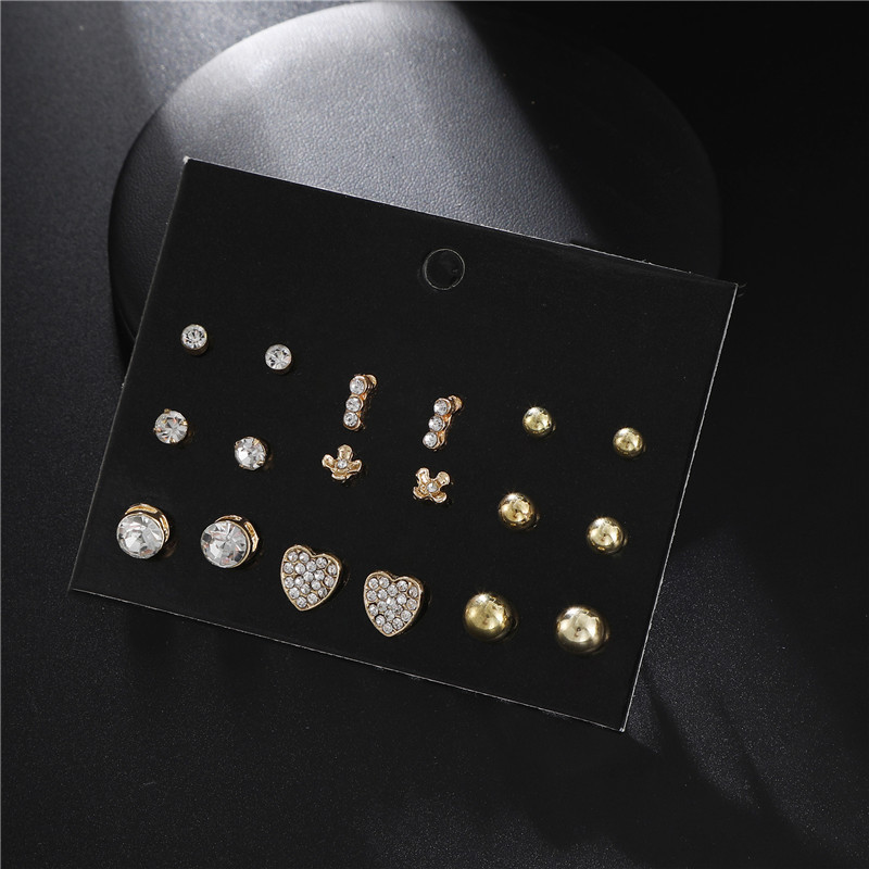 hot jewelry fashion simple 9 pairs of alloy point diamond love geometric earrings earrings suit  wholesale nihaojewelry NHZU221381