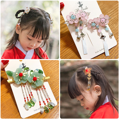 chinese hanfu hair accessory for girls Children ancient Chinese Hanfu costume headdress national hairpin little girl tassel hair ornament comb ribbon retro accessories
