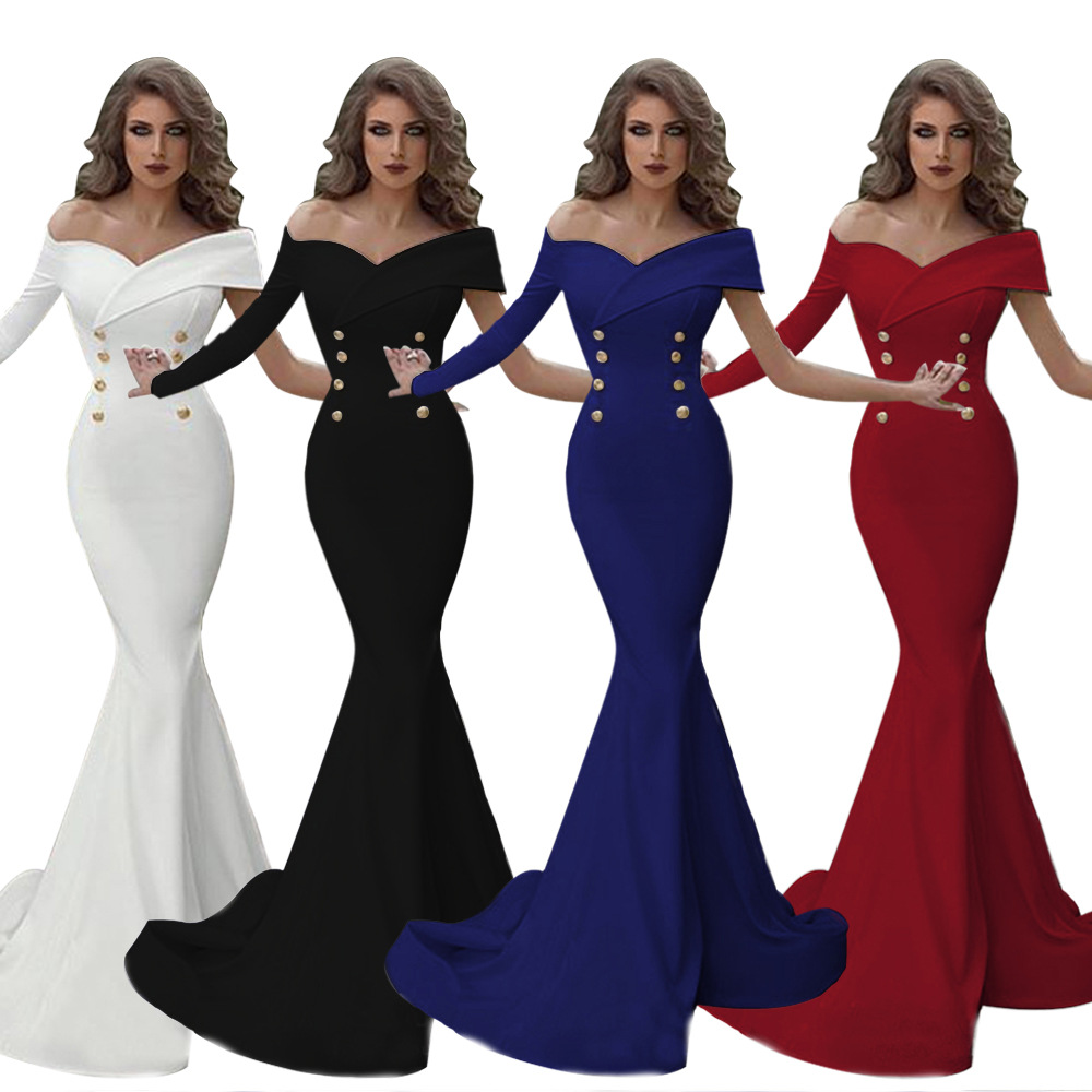 Foreign trade autumn and winter new solid color double breasted off shoulder single side sleeve bag buttock fish tail Amazon popular women's evening dress