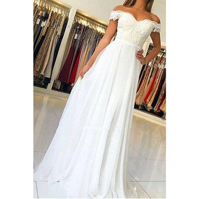 2020 summer new European and American Amazon shoulder Lace Chiffon Dress Wedding Bridesmaid Evening Dress New Female