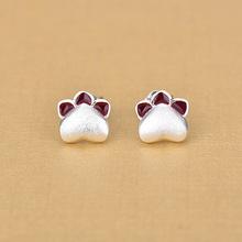 日韩925银创意热款 可爱小猫爪心形耳饰品 小巧时尚迷人百搭耳环