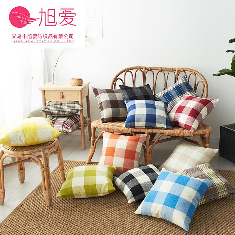 旭愛 色織棉麻亞麻格子條紋抱枕靠枕套 多色多規格 現貨 一件代發