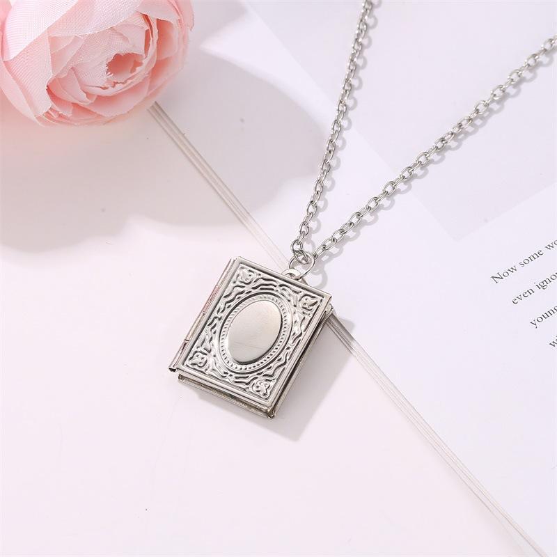 fashion creative magic book photo frame necklace NHDP307143