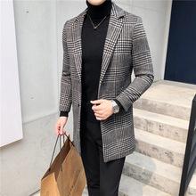 男士毛呢大衣潮牌秋冬季新款韩版青年帅气休闲风衣格子外套男上衣