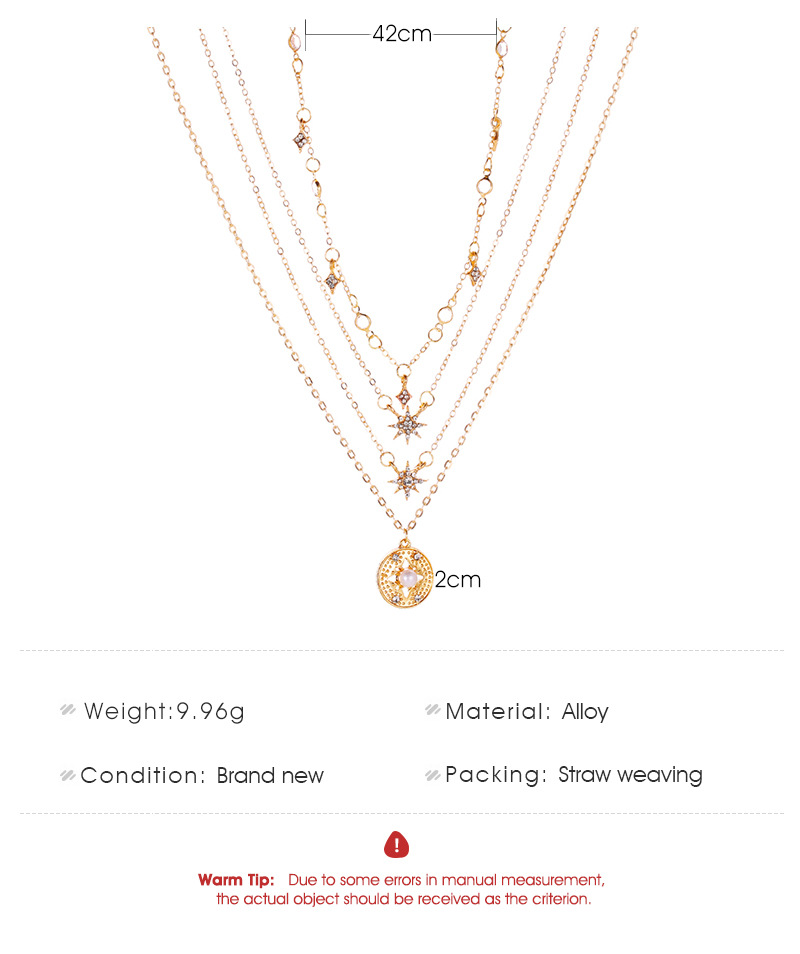 New 4-layer necklace ladies long multi-layer star necklace wholesale NHMO207962