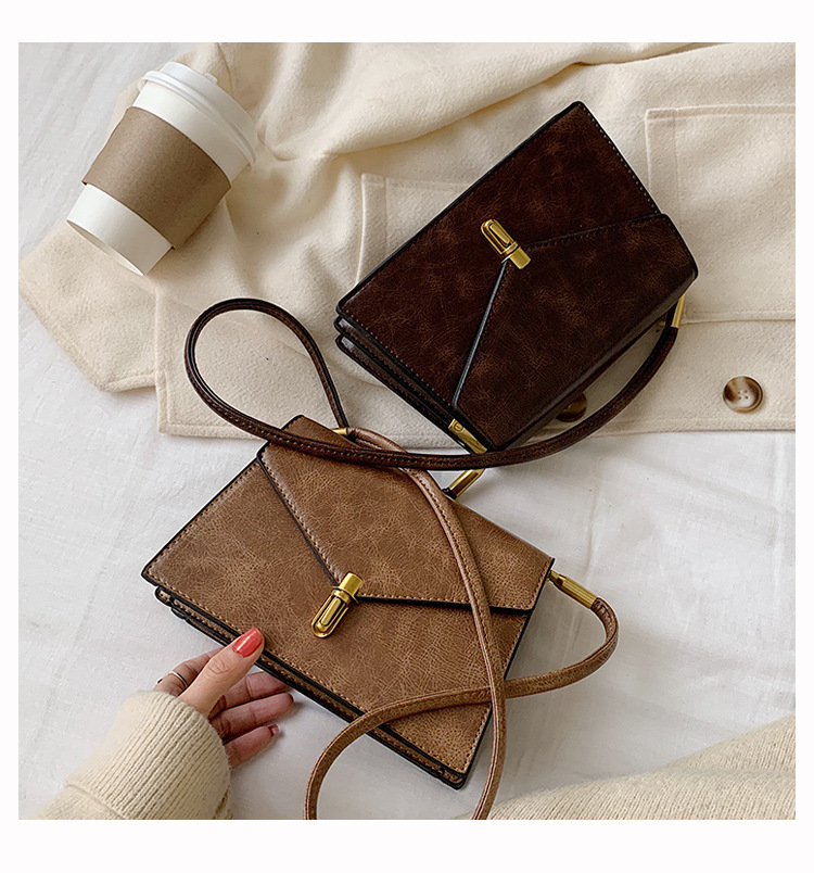 New Korean version of the simple wild casual shoulder bag fashion lock lock messenger small square bag NHPB196979